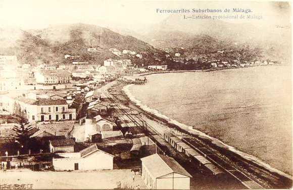 Panoramica de la primera estacion de la Malagueta, postal comercial, fondo Fesuma
