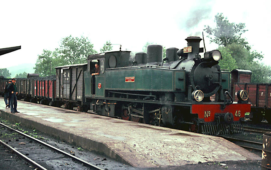 Locomotora nº 46, en Noreña , arrastrando un tren carbonero Foto : © John Carter