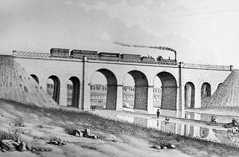 Madrid a Aranjuez, grabado año 1851, puente del Manzanares