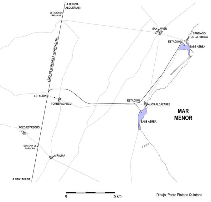 Esquema del ramal a Torre Pacheco y Santiago de la Ribera y anexas