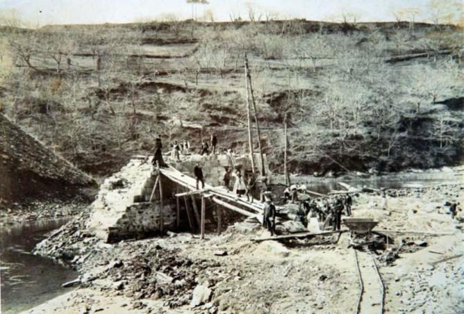 Construcción del puente del Ferrocarril en Betanzos, Fondo Buxa