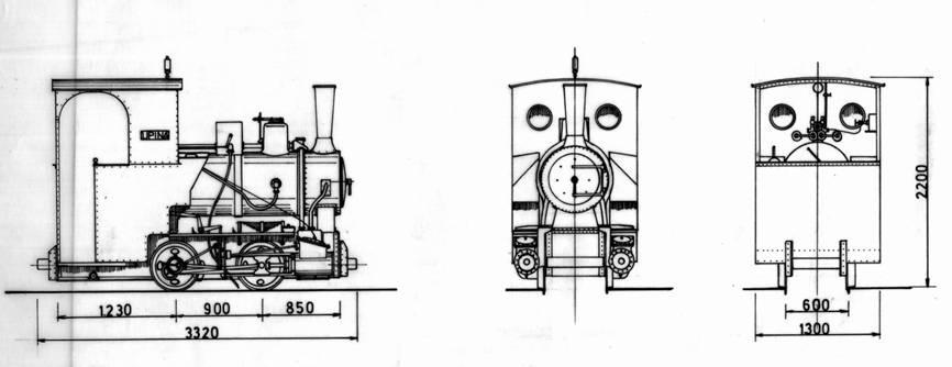 """Locomotora """"Upina"""" Minas del Peñon, dibujo: Carmelo Zaita"""