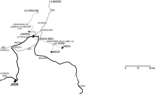 Plano de la linea de Linares a Puente Genil, Dibujo Pedro Pintado Quinta