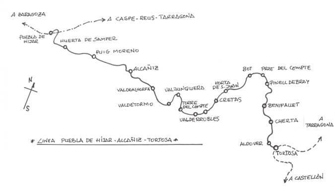 Plano de la línea, dibujo Juan Peris Torner