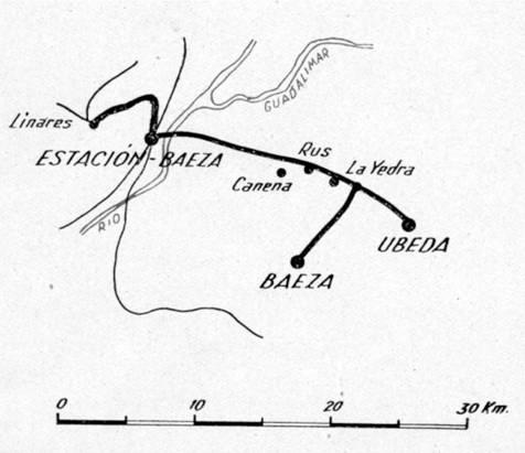 Esquema de la línea, informe 1942 EFE
