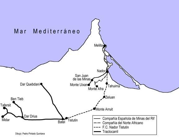 Esquema de lineas delñ Protectorado de Marruecos, Dibujo: Pedro Pinta