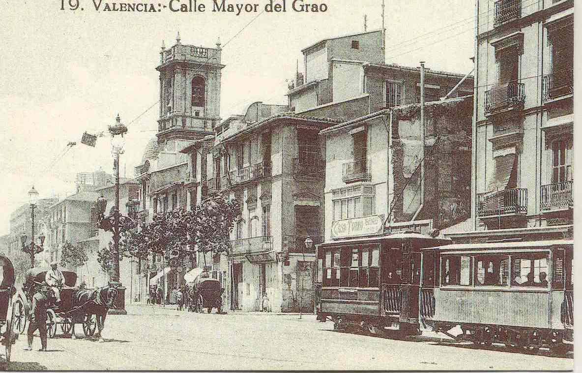 Tranvia en el Grao de Valencia, postal comercial , fondo : Miguel Diago Arcusa