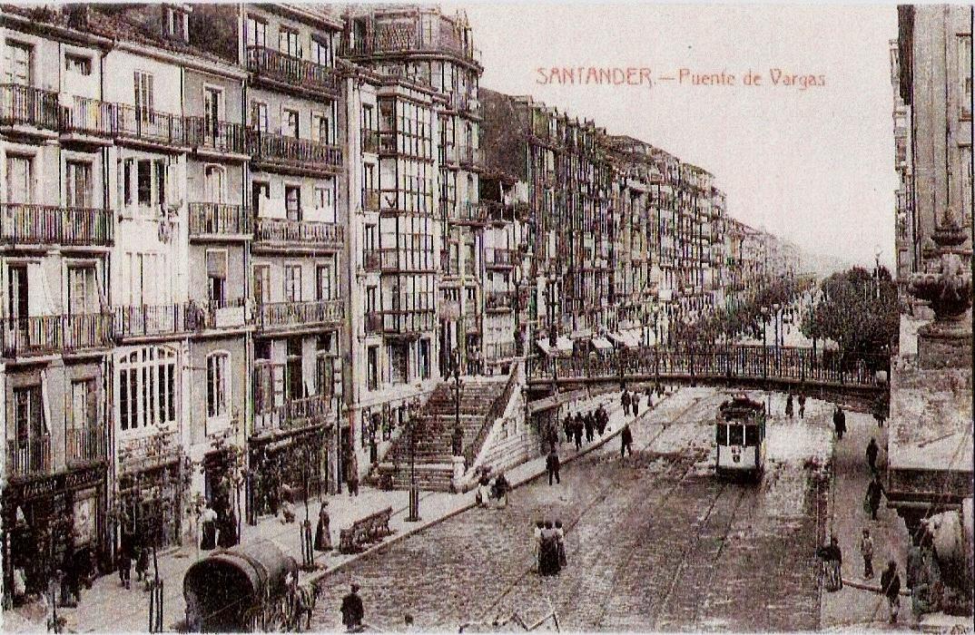 Tranvia en Santander, paso por el Puente de Vargas, postal comercial,