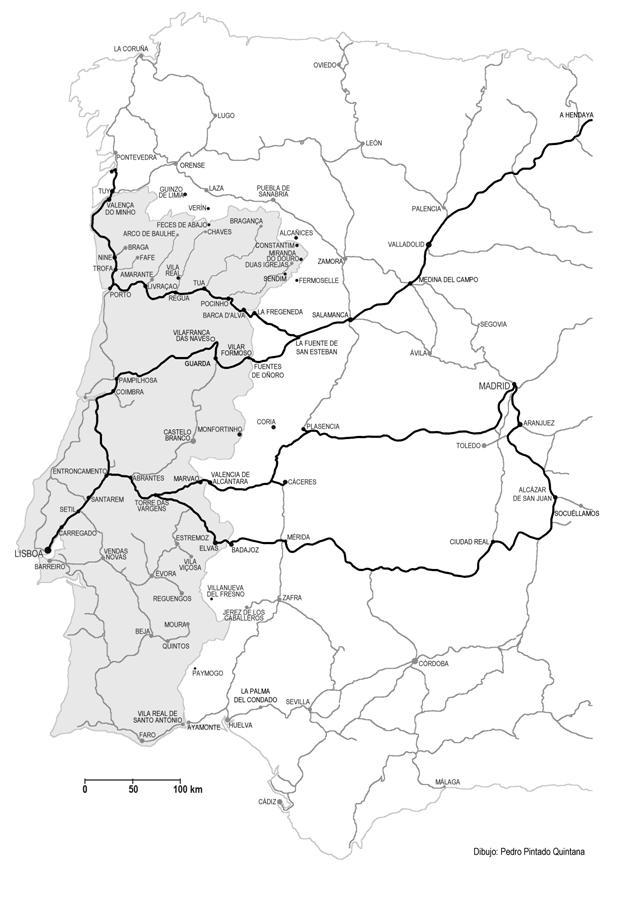 no de las lineas del Madrid a Caceres y Portugal y del Oeste de España