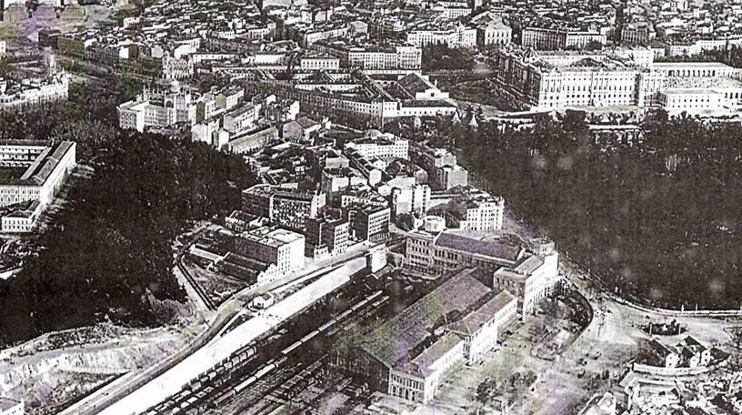 Vista Aerea de la estacion de Principe Pio en Madrid