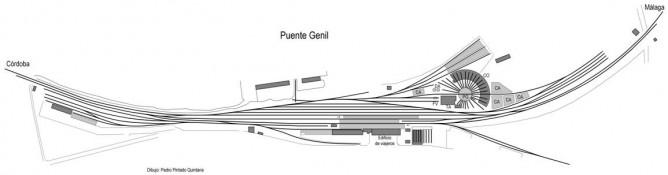 Estacion de Puente Genil, dibujo de Pedro Pintado Quintana