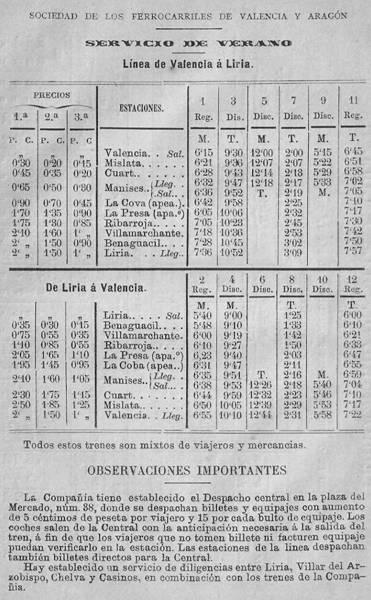 Horarios e itinerarios
