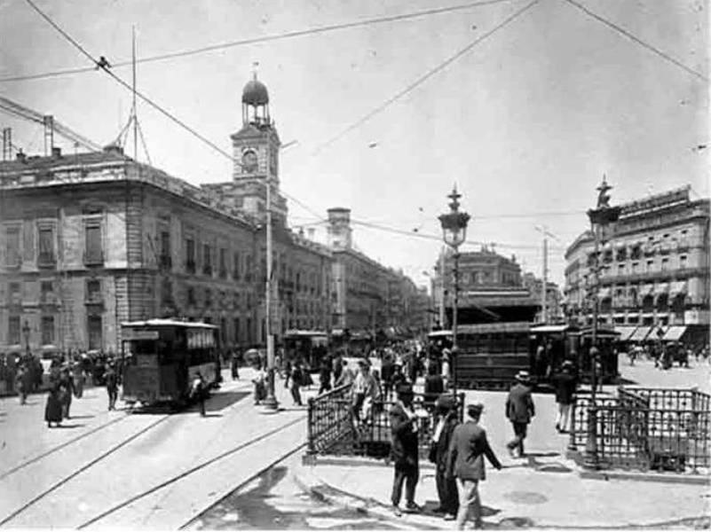 Puerta del Sol, tranvias de Madrid, fondo JMA