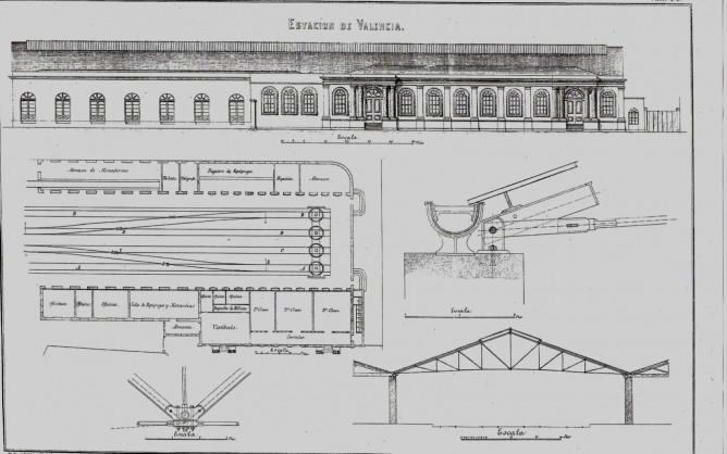 Planos de la primitiva estación en Valencia