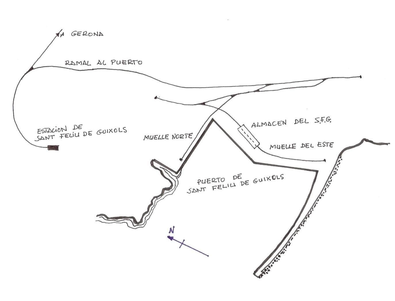 Ramal ferroviario al puerto de Sant Feñliu de Guixols, dibujo: Juan Peris Torner