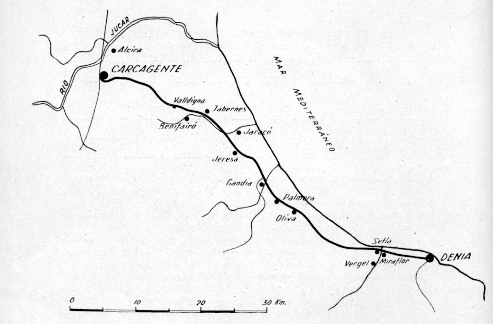 Plano del itinerario de la linea,
