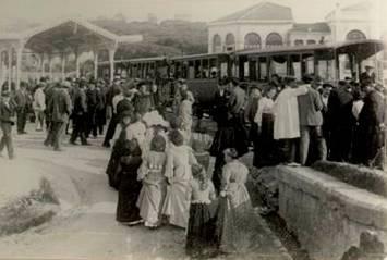 Tranvia de la Costa en el Sardinero, año 1881, fondo: Foto Org