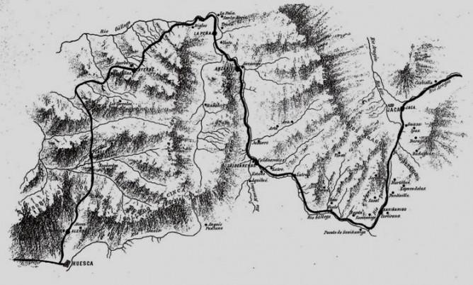 Plano de la línea de Huesca a Jaca