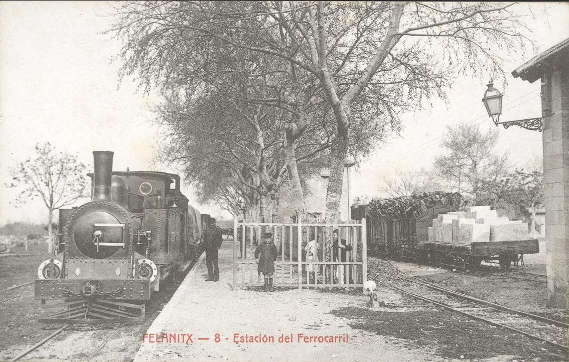 Estacion de Felanitx, postal comercial, fondo : Carlos Olmos