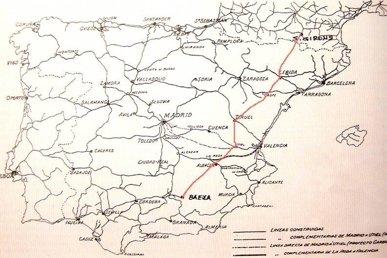 Plano de los transversales de Baeza a Saint-Girons