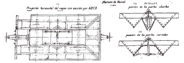 Plano de planta de las tolvas fabricadas por Mariano del Corral