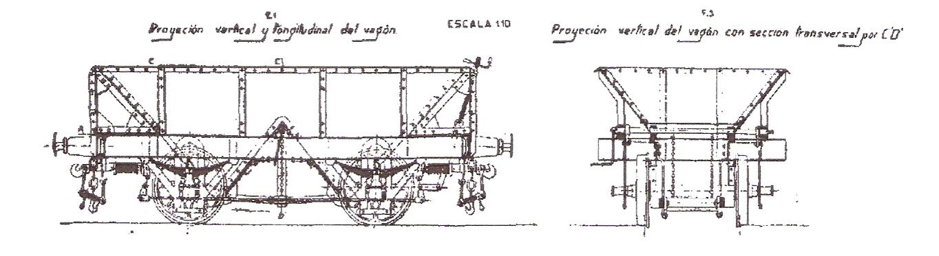 Alzados, frontal y lateral, de las tolvas fabricadas por Mariano del Corral
