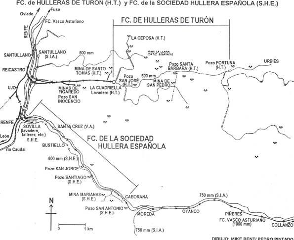Ferrocarril General de Hulleras de Turón, dibujo Pedro Piontado Quintana