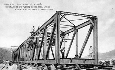 Puente sobre el Gallego, terminado, postal comercial, fondo JPT