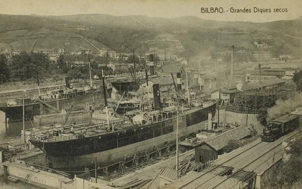 La linea de Bilbao a Portugalete junto a los astilleros de Euskalduna