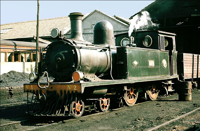 """Locomotora nº 2 Dübs, """"Oviedo"""" rodaje 220, año 1960,"""