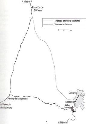 Esquema del Tramo a Aldea Moret, Dibujo Pedro Pintado Quintana