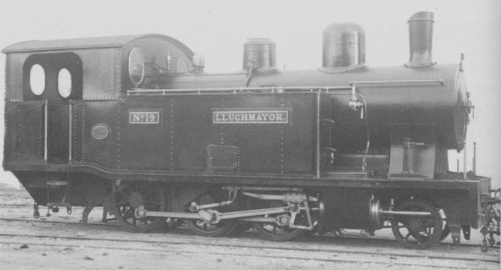 """Locomotora """"Lluchmajor"""" año 1917, fondo: Carlos Olmo"""
