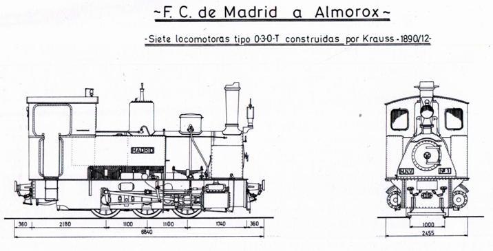 Plano de las locomotoras Krauss 030T, dibujo : Carmelo Zaita