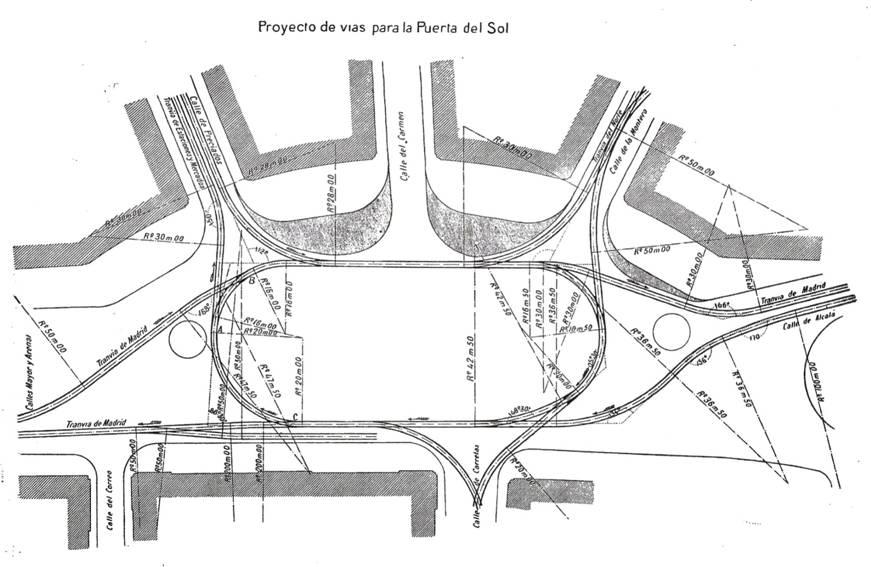 Proyecto de remodelacion de las lineas de tranvias en la Puerta del Sol