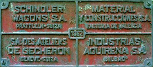 Placa de fabricacion de las locomotoras serie 21 al 24