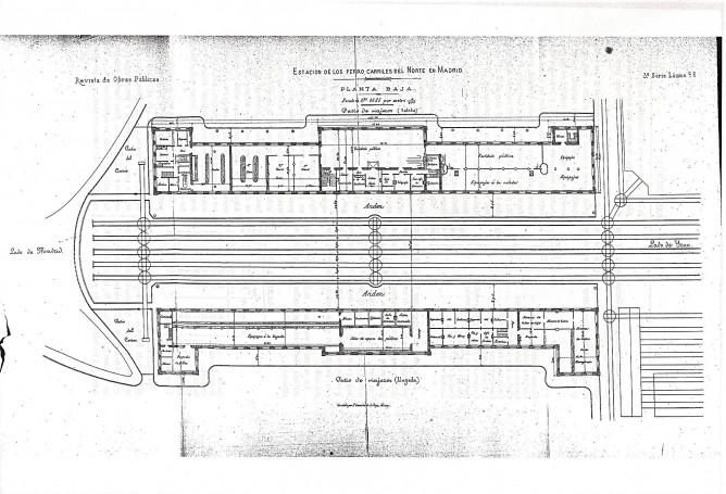 Plano de Planta de la estacion de Principe Pio, en Madrid,