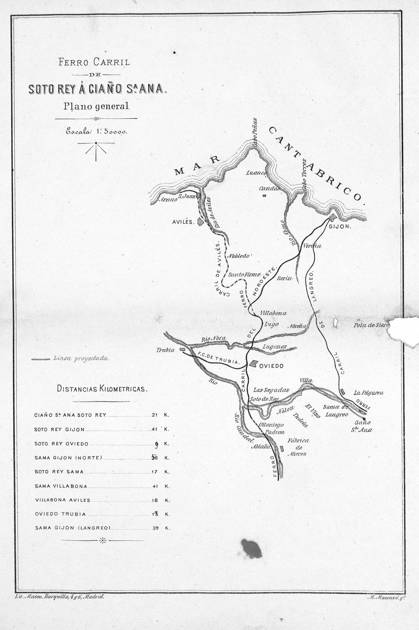 Plano del itinerario del ferrocarril (Defensa del Proyecto presentado a las Cortes)