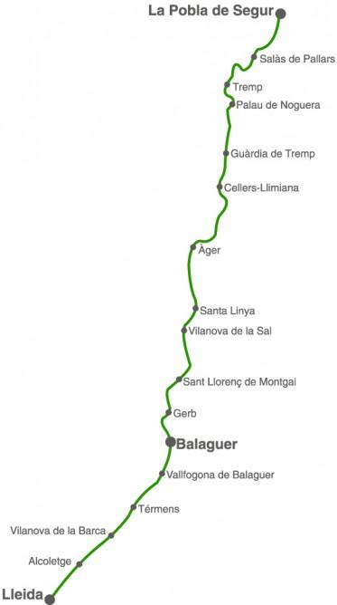 Itinerario de Lerida a Pobla de Segur