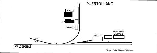 Esquema de la estación de Puertollano, dibujo de Pedro Pintado Quintana